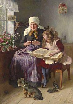Jochmus, Harry (b,1855)- Chrild reading to Adult