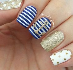 53 Collection of Awesome Anchor Nail Art Designs - Nails C Anchor Nail Designs, Anchor Nail Art, Nail Art Designs, Nails Design, Nautical Nail Designs, Fabulous Nails, Gorgeous Nails, Cruise Nails, Nautical Nails