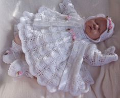 Knitting Pattern**To Make Moondance Baby/Doll Dress Set Knitting Dolls Clothes, Knitted Baby Clothes, Baby Doll Clothes, Knitted Dolls, Doll Clothes Patterns, Baby Dolls, Animal Knitting Patterns, Baby Sweater Knitting Pattern, Baby Patterns