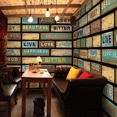 Frete Grátis Retro madeira marrom café mural bar Internet café restaurante loja de roupas decoração quadrado estéreo papel de parede mural