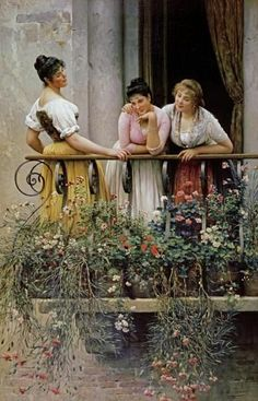 The Balcony by Eugene Von Blaas Eugene Von Blaas ( Italia ... 1843-- 1931 ) €€€€€.....http://www.pinterest.com/lilacraindrops/fashion-illustrations/