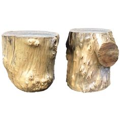 Organic Modern Natural Wood Tree Stump Tables - a Pair