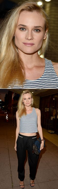 LE FASHION BLOG DIANE KRUGER STRIPE STRIPES CROP TANK TOP TAPERED BLACK TROUSER PANTS STRAPPY HEELS EMBROIDERED QUILTED METALLIC CLUTCH WITH STUDDED EAR CUFFS LOBE PIERCING HAIR TO THE SIDE MIDRIFF