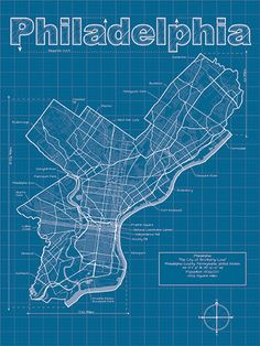 Philadelphia Map / 18 X 24 Print / Philadelphia Blueprint / Wall Art…