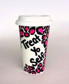 Ceramic Travel Mug Treat Yo Self Pink Leopard Print by sewZinski