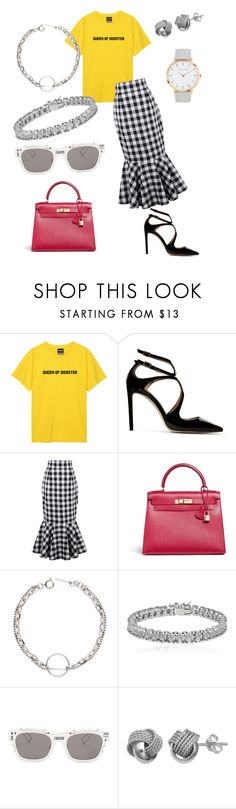 """""""MERGIRL"""" by xxxj ❤ liked on Polyvore featuring Jimmy Choo, WithChic, Hermès, Apples & Figs, Christian Dior, Primrose and MyFaveTshirt"""