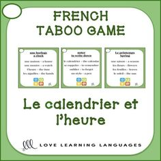 Playing French TABOO is a great way to get students to speak French and learn a lot of new vocabulary. This game is simple to modify and use with beginners. Core French, French Class, French Lessons, French Teacher, Teaching French, How To Speak French, Learn French, Teaching Tools, Teaching Resources
