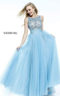 Aqua Sherri Hill 11022 Beads Long 2015 Prom Dress