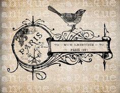 french LOVE BIRDS decor | Antique French Key Shop Label Bird Paris Illustration $1.00 at Antique ...
