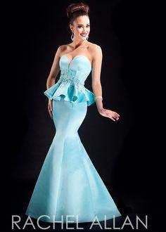 Rachel Allan 8035 Strapless Peplum Mermaid Dress