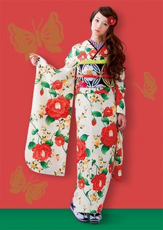 The Kimono Gallery Traditional Kimono, Traditional Fashion, Traditional Dresses, Traditioneller Kimono, Furisode Kimono, Japanese Costume, Japanese Kimono, Cute Kimonos, Modern Kimono