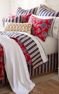 Whether you're in a floral or stripe mood, our reversible Charleston Bedding Collection can accommodate both, beautifully. Our ode to Americana, in rich reds, blues, whites, and a touch of cream.