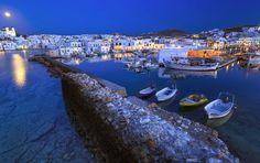 Naousa Paros island at a full moon rise