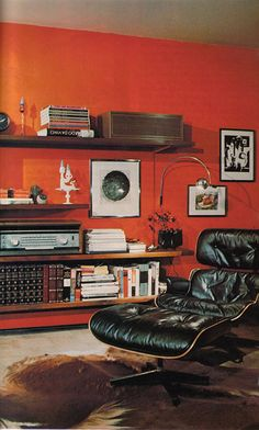 Cozy retro man cave w/ Eames chair, animal hide rug, art, books & hi fi. I heart these chairs Animal Hide Rugs, Vintage Outfits, Fashion Vintage, 70s Fashion, Men's Suits, Orange Walls, Man Room, My New Room, My Living Room
