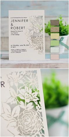 elegant blossom laser cut wedding invitations