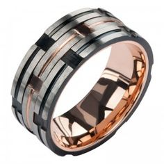 Stainless Steel Rose Gold and Black Track Ring - This Stainless Steel Rose Gold and Black Track Ring is a must have in any wardrobe! this Stainless Steel Rose Gold and Black Track Ring  is a piece that won't tarnish or scratch easily, and is something you'll love to wear every day, no matter your outfit!