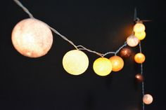 20 Lights - 5 Color Yellow Flower Tone Cotton Ball String Lights Fairy Lights Patio Lights Wedding Lights Decoration Lights