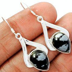 Snowflakes Obsidian 925 Sterling Silver Earrings Jewelry SNFE80 - JJDesignerJewelry