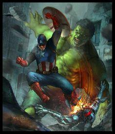 #Hulk #Fan #Art. (Hulk Vs Captain America) By: Denys Tsiperko. ÅWESOMENESS!!!™ ÅÅÅ+