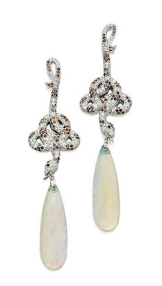 PAIR OF OPAL, BROWN DIAMOND AND DIAMOND PENDENT EARRINGS, Lydia Courteille