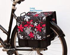 EMKcycles Sacoche de vélo double pour femme Motif fleurs Rouge Slant