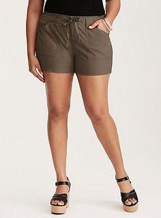 Plus Size Stretch Poplin Cargo Shorts - Morel, MOREL
