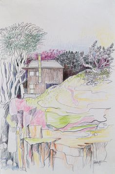 Lawrence Halprin, Sea Ranch House C. 1980, Colored Pencil on Paper