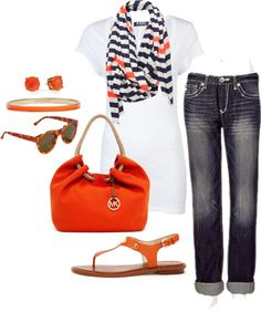 Love the white T with striped scarf, purse and sandals...maybe with short Khaki shorts or Jean shorts