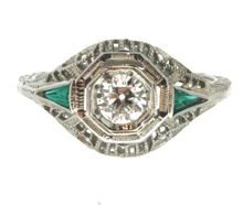 Art Deco 18K White Gold Diamond & Green Glass Filigree Ring at rubylane.com