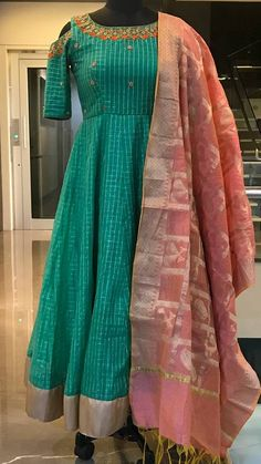 Beautiful wine color floor length anarkali dress with green color dupatta. ananrkali dress with birds on branch design hand embroidery thread work on yoke. Long Gown Dress, Sari Dress, Frock Dress, Anarkali Dress, Anarkali Suits, Lehenga, Sarees, Indian Long Dress, Indian Gowns Dresses