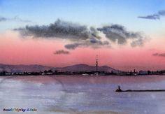 水彩画 東京湾夕景 watercolor  Tokyo Bay / Sunset