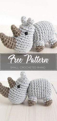 Small crocheted rhino – Pattern Free – Easy Crochet Knitting ProjectsKnitting For KidsCrochet PatternsCrochet Amigurumi Crochet Amigurumi Free Patterns, Crochet Animal Patterns, Stuffed Animal Patterns, Crochet Dolls, Easy Crochet Animals, Crocheting Patterns, Knitting Patterns, American Crafts, Cute Crochet