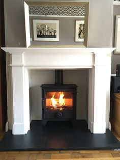 Terrific Pictures limestone Fireplace Mantels Thoughts Dean Forge with FDC Ascot Limestone surround. Wooden Fireplace Surround, Wood Burner Fireplace, White Fireplace, Fireplace Surrounds, Limestone Fireplace, Log Burner Living Room, Living Room With Fireplace, Home Living Room, Living Room Decor