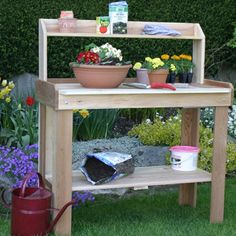 Gardening work will be more enjoyable and efficient with this versatile Western Red Cedar Potting Bench from Outdoor Living Today. Potting Tables, Potting Soil, Potting Sheds, Pallet Potting Bench, Picnic Table, A Table, Dessert Table, Outdoor Living, Outdoor Decor