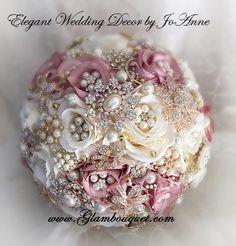 Dusty Rose Brooch Bouquet Pink Ivory and by Elegantweddingdecor
