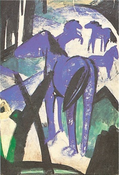 The Mother Mare of the the Blue Horses Print by Franz Marc at Art.com