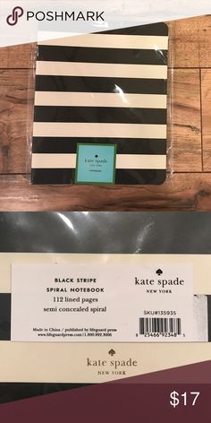 Kate Spade Notebook Black stripe spiral notebook. 112 lined pages. NWT. kate spade Other