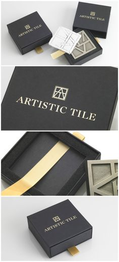 Taylor Box produced these sophisticated Tray in a Slipcase boxes that feature a simple gold foil stamp with a gold ribbon to accessorize. This custom box houses a noteworthy edition of Artistic Tiles renowned product. #Tile #Packaging #Design #MadeinUSA