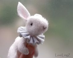 Felt bunny white handmade posable artist rabbit by LoveLingZ, $45.95