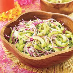 Cucumber salad: 1 red onion, halved and thinly sliced, 3tbsp rice vinegar, 3 cucumbers, peeled, seeded and thinly sliced, Salt and pepper 2tbsp olive oil, 2 tbsp chopped fresh dill. Toss onion with 1 Tbsp. vinegar; set aside. Place cucumbers in a colander and toss with 1/4 tsp. salt. Drain for 10 minutes. Pat dry. Mix onion and cucumbers in a large bowl. Toss with olive oil and remaining 2 Tbsp. vinegar. Add dill; season with salt and pepper. Cover and chill until ready to serve. X