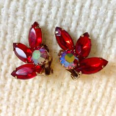 Vintage 1950's, Deep Red rhinestone and AB, Clip on Earrings.  Unmarked. Hollywood Glamour.