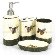 Sunland Home Decor: BA9 - 9 Pc Bathroom Set - Pine Cone