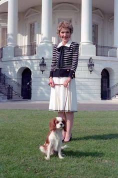 Nancy Reagan and Rex. cavalier king charles