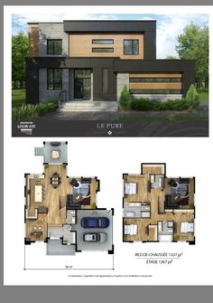 Modern House Plans 93461 New houses with flat roofs for sale - Construction Louis-Seize Modern House Floor Plans, Sims House Plans, House Layout Plans, Home Design Floor Plans, Dream House Plans, House Layouts, Modern House Design, Floor Design, Modern Home Plans
