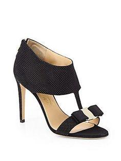 Salvatore Ferragamo Pellas Dotted Suede Cutout Sandals
