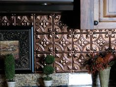 copper tin backsplash: Kitchen Backsplash Makeover