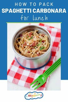 A delicious thermos lunch of spaghetti carbonara! It's the ultimate dinner recipe you can repurpose into an easy, hot lunch the next day. Easy Lasagna Recipe, Easy Pasta Recipes, Bacon Recipes, Easy Dinner Recipes, Real Food Recipes, Recipe Pasta, Skillet Recipes, Skillet Meals, Kitchens