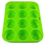 Izunu Silicone 12-Cup Muffin Pan for Muffins, Cupcakes, Quiches - Dishwasher, Microwave, Freezer and Oven-Safe - Easy To Clean Muffin Tray With Non-Stick Silicone Surface Redefines Baking. Never Struggle with Metallic Muffin Pans Again by Izunu