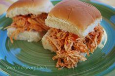 Buffalo Chicken Sandwiches- Crockpot recipe #foods