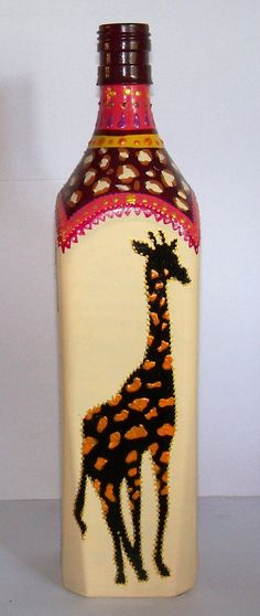 botella cuadrada de johnnie walker  reciclada pintadas a mano, super decorativas, prolijas, y originales